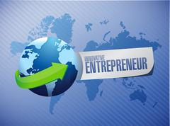 Innovative entrepreneur global sign Stock Illustration
