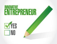 Innovative entrepreneur approval sign Stock Illustration