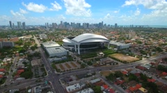 Aerial drone video Marlins Park Miami Stock Footage
