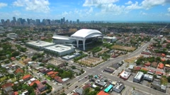 Aerial tour Marlins Park Miami - stock footage