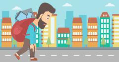 Man with backpack full of devices - stock illustration