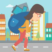 Woman with backpack full of devices - stock illustration