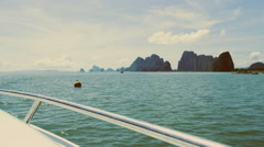yacht, sea, scenery, speed, and water splashes - stock footage
