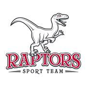 Vintage Jurassic raptor Logo. Dino sport mascot insignia badge design. College - stock illustration