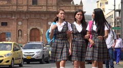 Female Students Walking In Urban Area Stock Footage