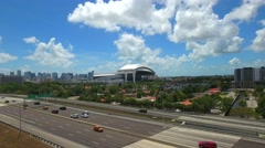 Aerial tour Marlins Park Miami Stock Footage