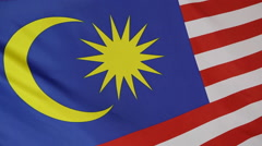 Closeup of Malaysian national flag in slow motion Stock Footage