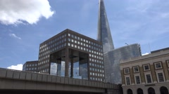 4K Shard Tower in London, Tracking in Ships, Boats Cruise on Thames River Stock Footage