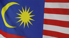 Closeup of national flag of Malaysia Stock Footage