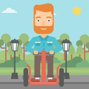 Man riding on electric scooter - stock illustration
