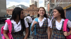 Female Students Walking Downtown Stock Footage