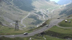 4K Aerial Transfagarasan Highway, Romania, Traffic Mountain View, Raining Day Stock Footage