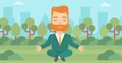 Businessman meditating in lotus pose - stock illustration