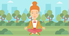 Business woman meditating in lotus pose Stock Illustration