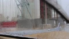 Rack Focus Windshield Wipers in Rain Cuba Stock Footage