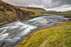 The wild Fjadra river in Iceland Stock Photos