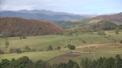 4K Aerial Autumn Trees Forest, Wood in Mountains, Nature View in Fall, Landscape Stock Footage