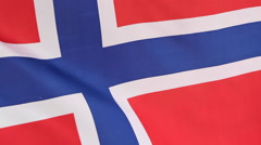 Closeup of national flag of Norway in slow motion Stock Footage