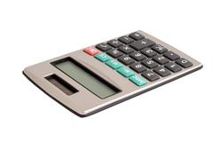 Calculator with a solar battery - stock photo