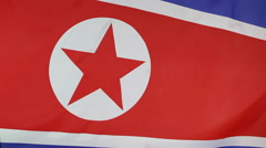 Closeup of North Korean flag Stock Footage