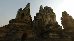 Close up from temple in sukhothai park in thailand Stock Footage