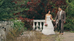Wedding Couple Walking On Nature Stock Footage