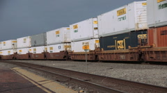 Long Rail Freight Transport Train with Containers with sound Stock Footage