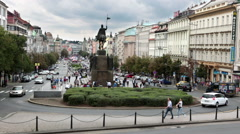 View from steps of the national museum on Wenceslas Square Vaclavske namesti Stock Footage