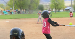 Softball young girl team hit and run DCI 4K Stock Footage