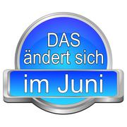 That's new in June Button - in german - 3D illustration Stock Illustration
