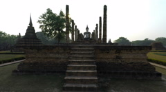 Buddhistic temple in sukhothai park in thailand Stock Footage