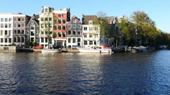 Time Lapse - Canal Houses / Boats in the Canals - Amsterdam Netherlands Stock Footage