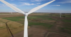 Aerial view of windmill farm on Prairies - stock footage