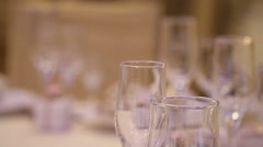 Table at restaraunt with glasses Stock Footage