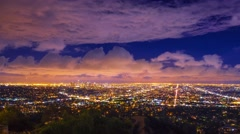 Dramatic storm clouds city Los Angeles skyline night Zoom in 4K UHD Timelapse - stock footage