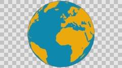 2D Globe Rotate 005 Stock Footage
