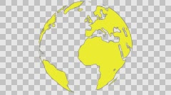 2D Globe Rotate Continents 002 Stock Footage