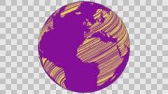 2D Globe Rotate Wiggle Scribble 002 Stock Footage