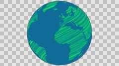 2D Globe Rotate Wiggle Scribble 001 Stock Footage