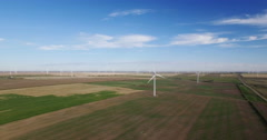 Aerial view of windmill farm on Prairies Stock Footage