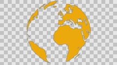 2D Globe Rotate Continents 005 Stock Footage