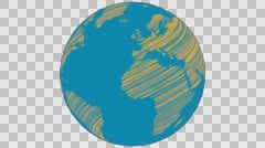 2D Globe Rotate Static Scribble 005 Stock Footage