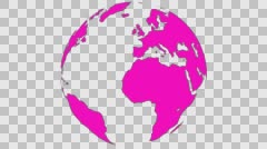 2D Globe Rotate Continents 009 - stock footage