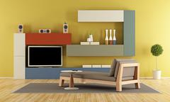 Contemporary Living room with colorful wall unit - stock illustration