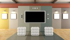 Modern museum with multimedia area - stock illustration