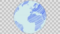 2D Globe Rotate Static Scribble 003 Stock Footage