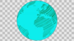 2D Globe Rotate Static Scribble 010 Stock Footage