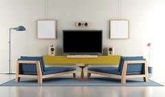Living room with TV Stock Illustration