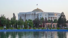 Nation Palace from day to night view in Dushanbe Stock Footage