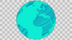 2D Globe Rotate Wiggle Scribble 007 - stock footage